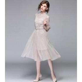 シースルー ドット ベルト ワンピース ドレス r0476