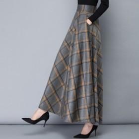 フレアスカート ロングスカート 大きいサイズ ロングスカート秋冬 チェック ロングスカート 冬服 冬スペシャルセール ウエストゴム