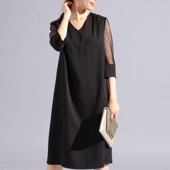 【オンワード】 FeteROBE(フェテローブ) 【優木まおみさん着用】シアースリーブサック ドレス ブラック 9 レディース