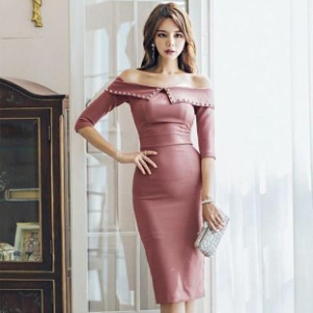 bd088aeb15253 オフショル ワンピース ワンピ タイト ミディアム丈 セクシー ナイトドレス ドレス 無地 上品 シンプル 韓国ファッション 二次会
