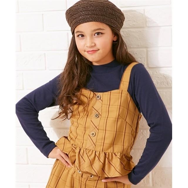 e47e562df60d7 2点セット(チェック柄ビスチェ+ハイネックTシャツ)(女の子 子供服 ...