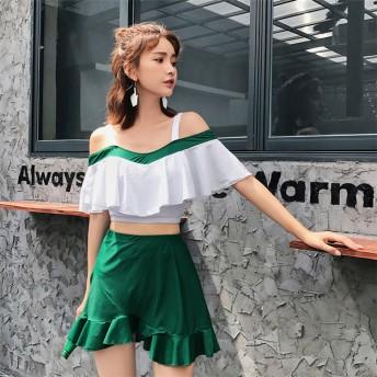 韓国新作の水着が登場♪水着セット・絶対的な高品質・ビーチ水着ビキニ・体型カバー ・格柄 3点セット