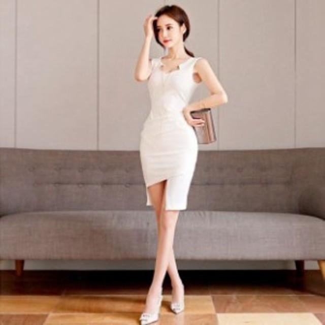 e452c5d303cf4 胸元のアクセサリーがゴージャス!チェーン付きタイトドレス☆韓国 レディース トレンド ワンピ 二次会