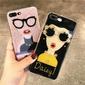 即納★送料0★クレイジーガール ラメ ブラック ピンク iPhone 6 iPhone7 iPhone7ケース iPhone8 ケース iPhoneケース