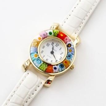 イタリア製 ベネチアンガラス/ベネチアングラス/時計/腕時計/ウォッチ ホワイト/白/ベルト/手