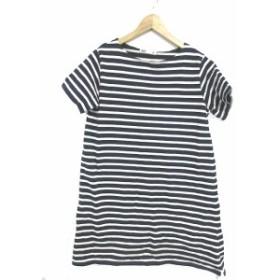 【中古】セブンデイズサンデイ SEVENDAYS=SUNDAY ワンピース カットソー Tシャツ 半袖  ボーダー M 白 ホワイト