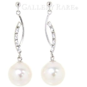 パール ダイヤモンド ピアス 計0.20ct K18WG ホワイトゴールド 2.3g ジュエリー 宝石