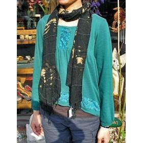 エスニック アジアン ストール ブラック F アジアン雑貨 バリ雑貨 ファッション ショール マフラー メール便可