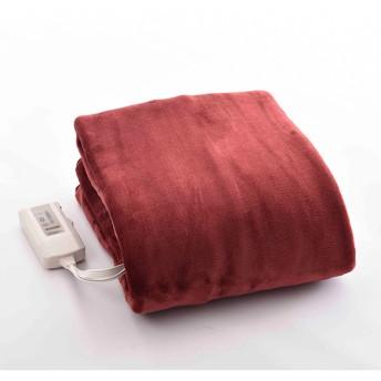 【YAMAZEN】電気敷毛布 AMS-F33P-R レッド 幅140x奥行80cm ホットカーペット・電気毛布・あんか