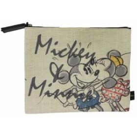 ミッキー&ミニー 平ポーチ フラットポーチ キス ディズニー キャラクターグッズ メール便可
