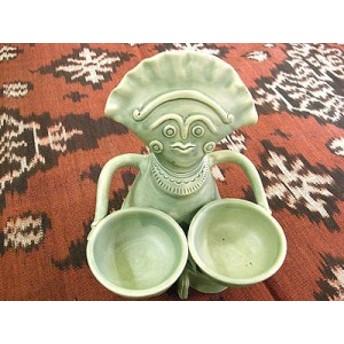 タバナン 調味料入れ チリ人形 グリーン アジアン雑貨 バリ雑貨 インテリア 陶器 テーブルウェア 小物入れ タバナン焼き