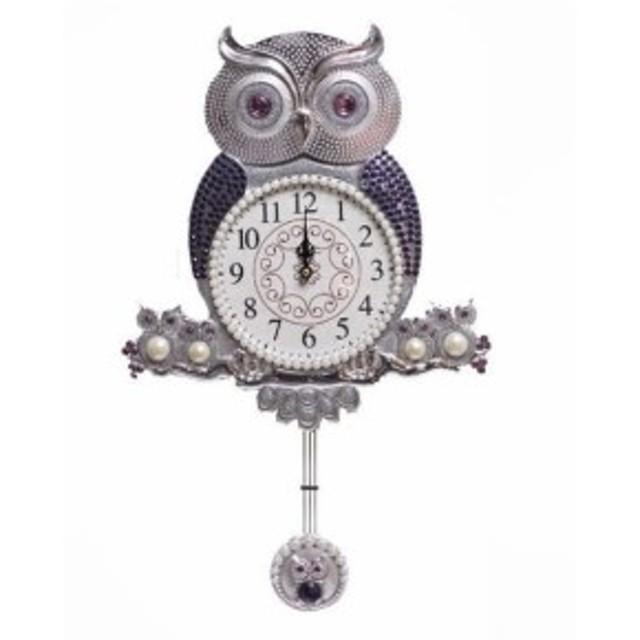 掛け時計 ジュエルミミズク 電波時計 壁掛け時計 おしゃれ 掛時計 北欧 時計 インテリア 振り子時計