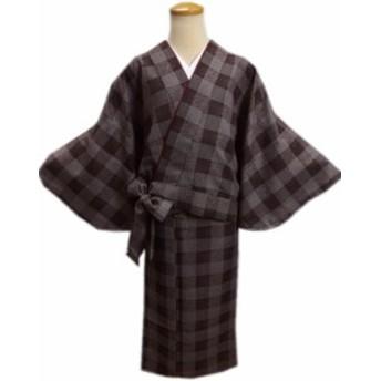 二部式 着物 洗える 袷 茶色地江戸小紋柄格子 M L ユニフォーム 普段着 和柄 女性用 レディース