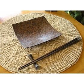 ココナッツの四角トレー Mサイズ 15cm アジアン雑貨 バリ雑貨 インテリア ココナッツ テーブルウェア 木製