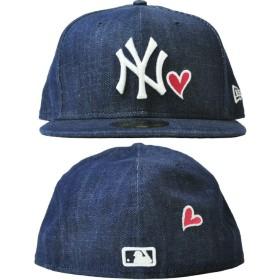 キャップ - stylise NEW ERA ニューエラ 59FIFTY UNDERVISOR Heart Logo ニューヨーク・ヤンキース インディゴ×ホワイトNEW YORK ストロベリー [11420480] キャップ[FS]