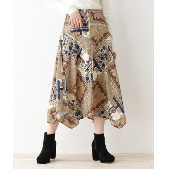 OZOC / オゾック 【洗える】スカーフ柄イレヘムフレアスカート