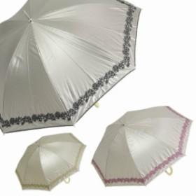 雨傘 レディース 日傘 晴雨兼用 UVカット 裾Wピコハイビスカス刺繍スライドショート傘 47cm 超軽量 遮光&遮熱 かさ
