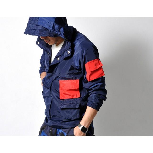 ジャケット・ブルゾン - RAiseNsE マルチポケット フード付きジャケット メンズ アウター アノラック レインジャケット#PK513