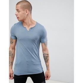 エイソス Tシャツ メンズ ASOS DESIGN muscle fit t-shirt with raw notch neck in blue Stormy weather marl