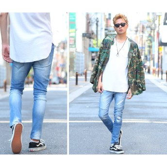 デニムパンツ・ジーンズ - improves メンズファッション スキニーデニムスリム バイカー デニム ボトムス ジーンズ メンズバイカーパンツストリートストレッチデニムジーパン ズボン ダメージジーンズ メンズファッション メンズ お兄系 ストリート系オラオラ系大きいサイズ