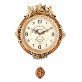 掛け時計 ゴールデンエンジェルラウンド 振り子時計 壁掛け時計 おしゃれ 掛時計 北欧 時計 インテリア 振り子時計