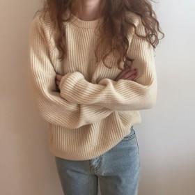ニット レディース セーター トップス ラウンドネック 長袖 無地 縦線 可愛い ふんわり あったか 防寒 お出かけ 散歩 秋服 冬服