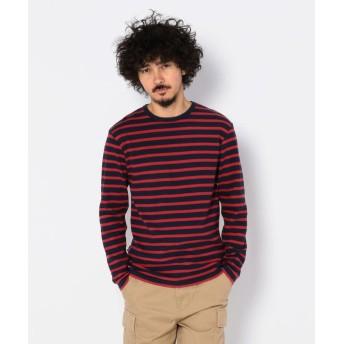 アヴィレックス デイリー クルーネック ボーダー ティーシャツ/ DAILY CREW NECK BORDER T SHIRT メンズ RED S 【AVIREX】
