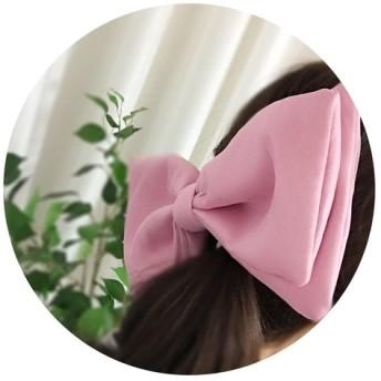 ピンクの頭リボン、ハンドメイドリボン、2WAYリボン