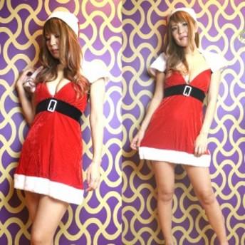 レディース サンタ コスチューム 3点セット クリスマス コスプレ ファー付 ミニドレス