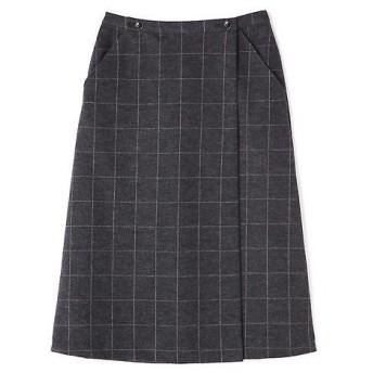 HUMAN WOMAN / ヒューマンウーマン ≪japan couture≫ウールジャージー巻スカート風Aラインスカート