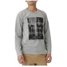 【30%OFF】 マックハウス T GRAPHICS プリントVネックTシャツ EJ185 MC114 メンズ 杢グレー S 【MAC HOUSE】 【タイムセール開催中】