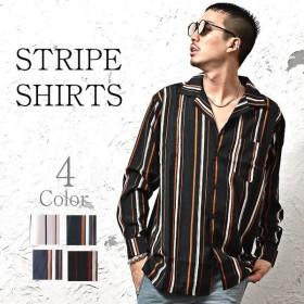 長袖シャツ メンズ オープンカラーシャツ ストライプシャツ 長袖 シャツ オープンカラー シャツ 開襟シャツ ストライプ柄