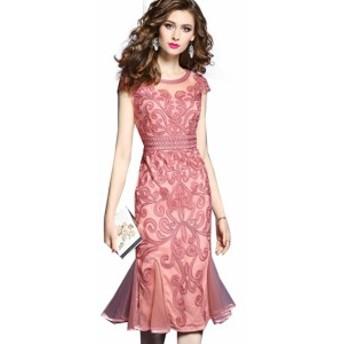 インポート 刺繍 ワンピース ミディアム 半袖 Uネック 結婚式 お呼ばれ パーティ ドレス 20代 30代