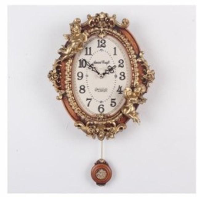 掛け時計 ゴ―ルド エンジェルオーバル振り子時計-brown 振り子時計 壁掛け時計 おしゃれ 掛時計 北欧 時計 インテリア 振り子時計