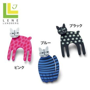 レネ ランドバーグ 猫のブローチ ブラック ピンク ブルー -
