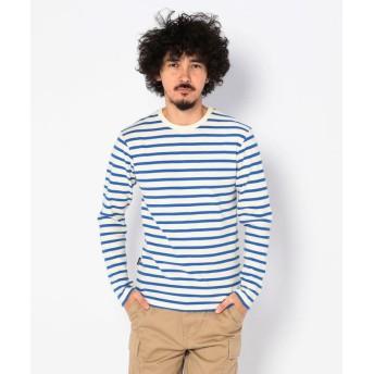 アヴィレックス デイリー クルーネック ボーダー ティーシャツ/ DAILY CREW NECK BORDER T SHIRT メンズ BLUE L 【AVIREX】