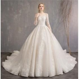 刺繍 エレガント ウェディングドレス ロングドレス  編み上げタイプ  豪華 結婚式 お姫様 花嫁ドレス 披露宴  トレーン 送料無料 LJ304