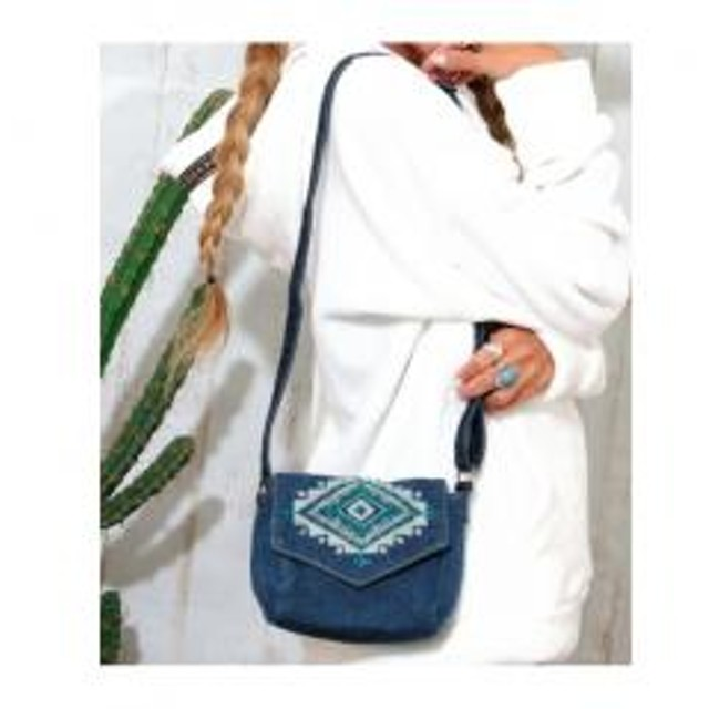 anap mimpi アナップミンピオルテガ刺繍デニムミニショルダーバッグ