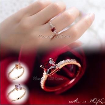 煌きダイヤモンドCZレッド彩石 リング ピンクゴールド☆【レディース、アクセサリー、リング、指輪、ジュエリー】