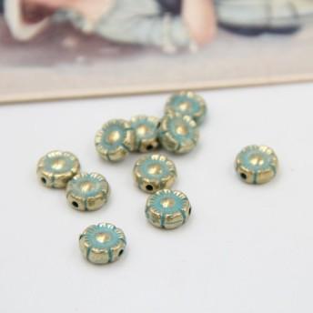 合金、素材 ビンテージレトロな梅の花ビーズ新鮮な青10mm 4本入り