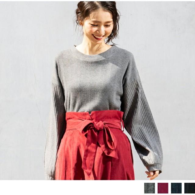 Tシャツ - Petit Fleur ランダム ピッチ テレコリブ ボディー × 太ピッチ 袖 異素材 組み合わせ ボリューム 袖 レディース 長袖 クルーネックプルオーバー ブラウス (4カラー)