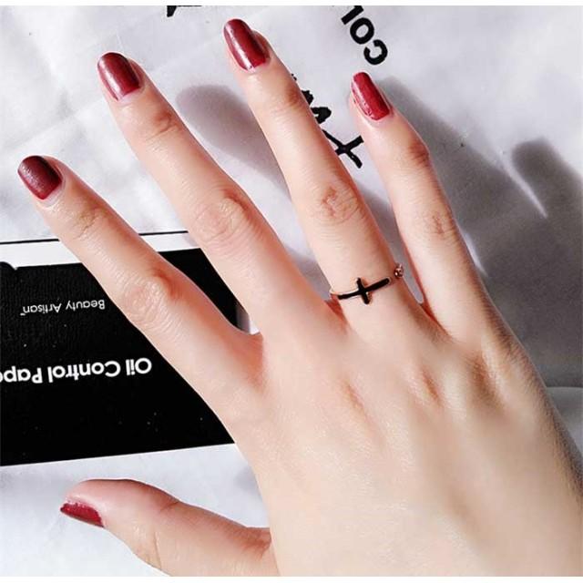 【レディースジュエリーチタン 18Kgf ピンクゴールド リング 指輪 】クロス 十字架 リング 指輪アクセサリー 関節リング ピンキーリング 微調整可能 色落ちしない高品質!