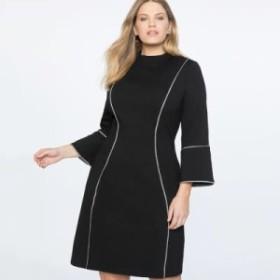 【XL~5XL】大きいサイズ 秋冬新作 ボディコン パッチワーク オフィス カジュアル ロングスリーブ 膝丈 ドレス