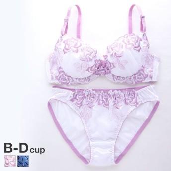 (プリンセスラボ)Princess Labo 大花刺繍 ブラショーツ セット BCD 盛りブラ 谷間ブラ アンダー大きいサイズ