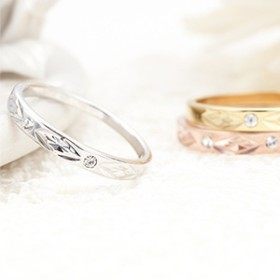 ピンキーリング 指輪 小指 日本製 表面加工 ダイヤ柄 ストーンでポイント 3号 5号 シルバー ゴールド ピンクゴールド
