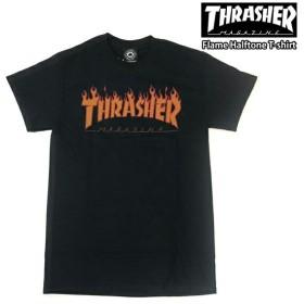 スラッシャー メンズ 半袖 Tシャツ ロゴ THRASHER Flame Halftone T-shirt【USAモデル】thrasher104 【単品購入に限りメール便発送】