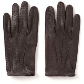 DENTS ペッカリーアンライニンググローブ ダークブラウン/7.5(エストネーション)◆メンズ 手袋