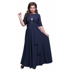 【XL~6XL】秋新作 大きいサイズ ハーフスリーブ エレガント イブニング ロング パーティー ドレス