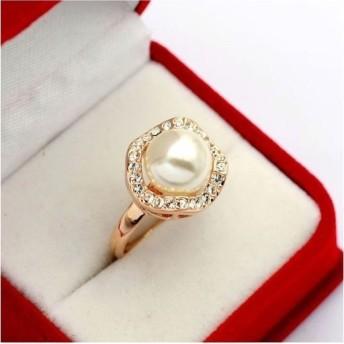 ホワイトパール ダイヤモンドCZ彩石リング☆ホワイト真珠に宿る幸せ、指先に永遠の気品と優美を演出【レディース、指輪、リング、アクセサリー、コットンパール、ジュエリー、K18RGP】