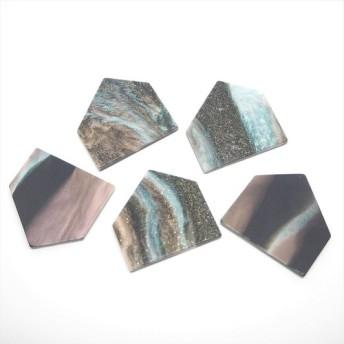 アクリルヴィンテージ板 HOME五角形大 ラメコズミック f015